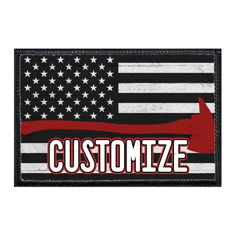 Customizable - US Flag - Fireman Axe - Black And White - Distressed - Removable Patch - Pull Patch - Removable Patches For Authentic Flexfit and Snapback Hats