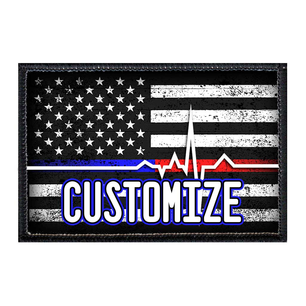 Customizable - US Flag - Lifeline - Black And White - Distressed - Removable Patch - Pull Patch - Removable Patches For Authentic Flexfit and Snapback Hats