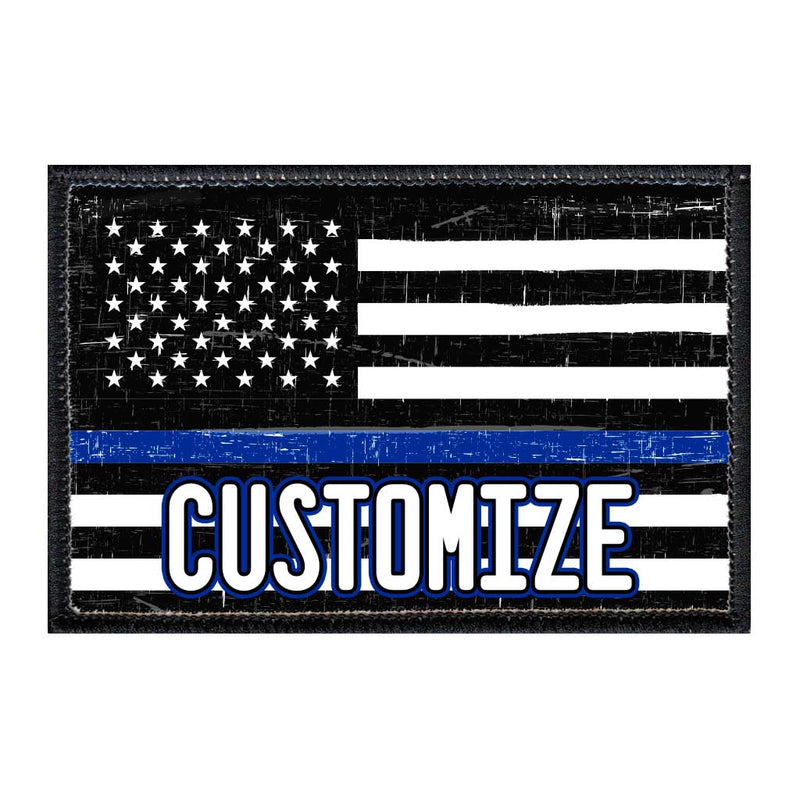 Customizable - US Flag - Thin Blue Line - Black And White - Distressed - Removable Patch - Pull Patch - Removable Patches For Authentic Flexfit and Snapback Hats