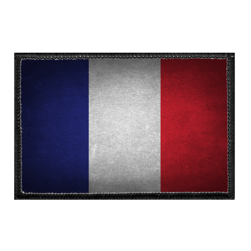 France Flag - Color - Distressed - Removable Patch - Pull Patch - Removable Patches For Authentic Flexfit and Snapback Hats
