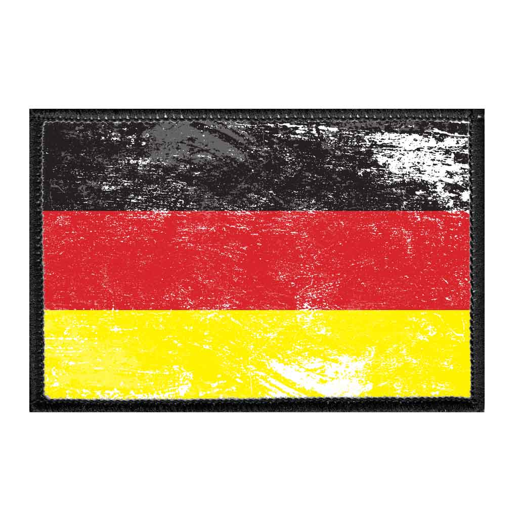 Germany Flag - Color - Distressed - Removable Patch - Pull Patch - Removable Patches For Authentic Flexfit and Snapback Hats