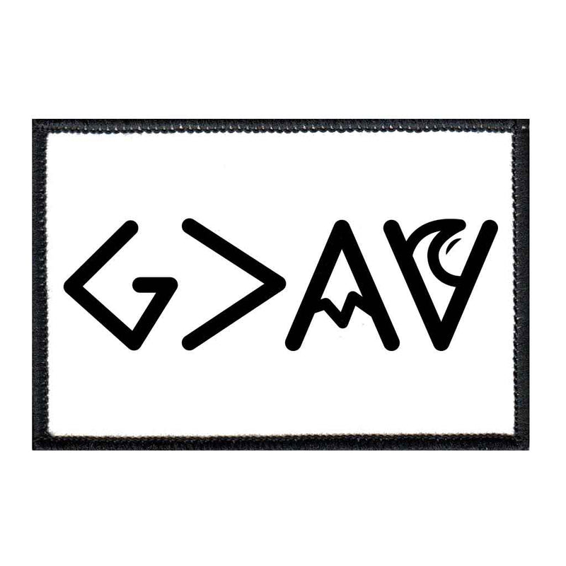 God is Greater Than Highs and Lows - Black and White - Sharp - Removable Patch - Pull Patch - Removable Patches For Authentic Flexfit and Snapback Hats