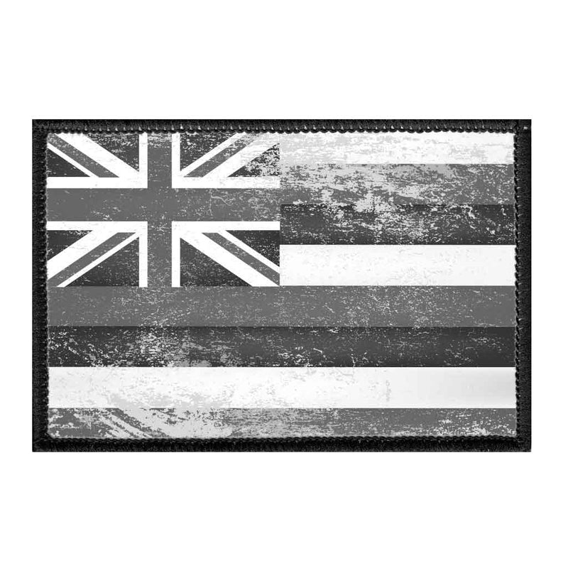 Hawaii State Flag - Black and White - Distressed - Removable Patch - Pull Patch - Removable Patches For Authentic Flexfit and Snapback Hats