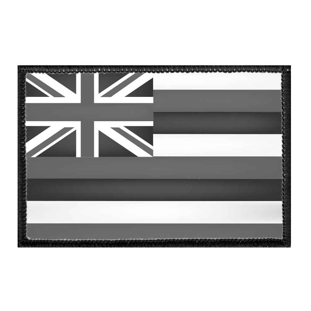 Hawaii State Flag - Black and White - Removable Patch - Pull Patch - Removable Patches For Authentic Flexfit and Snapback Hats