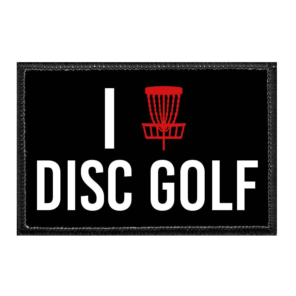 I Love Disc Golf - Removable Patch - Pull Patch - Removable Patches For Authentic Flexfit and Snapback Hats