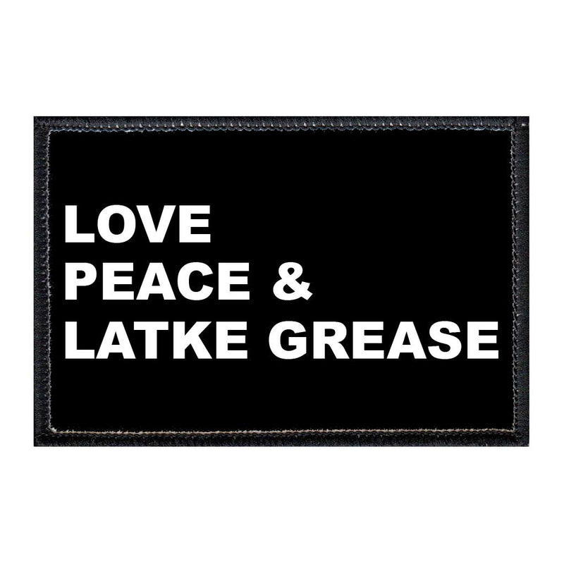 Love, Peace and Latke Grease - Removable Patch - Pull Patch - Removable Patches For Authentic Flexfit and Snapback Hats