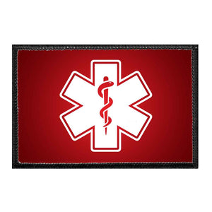 Medic Symbol - White - Red Background - Removable Patch