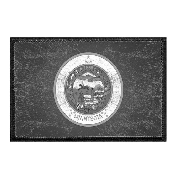 Minnesota State Flag - Black and White - Distressed - Removable Patch 1