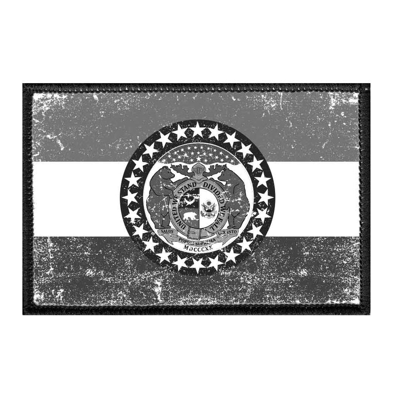 Missouri State Flag - Black and White - Distressed - Removable Patch - Pull Patch - Removable Patches For Authentic Flexfit and Snapback Hats