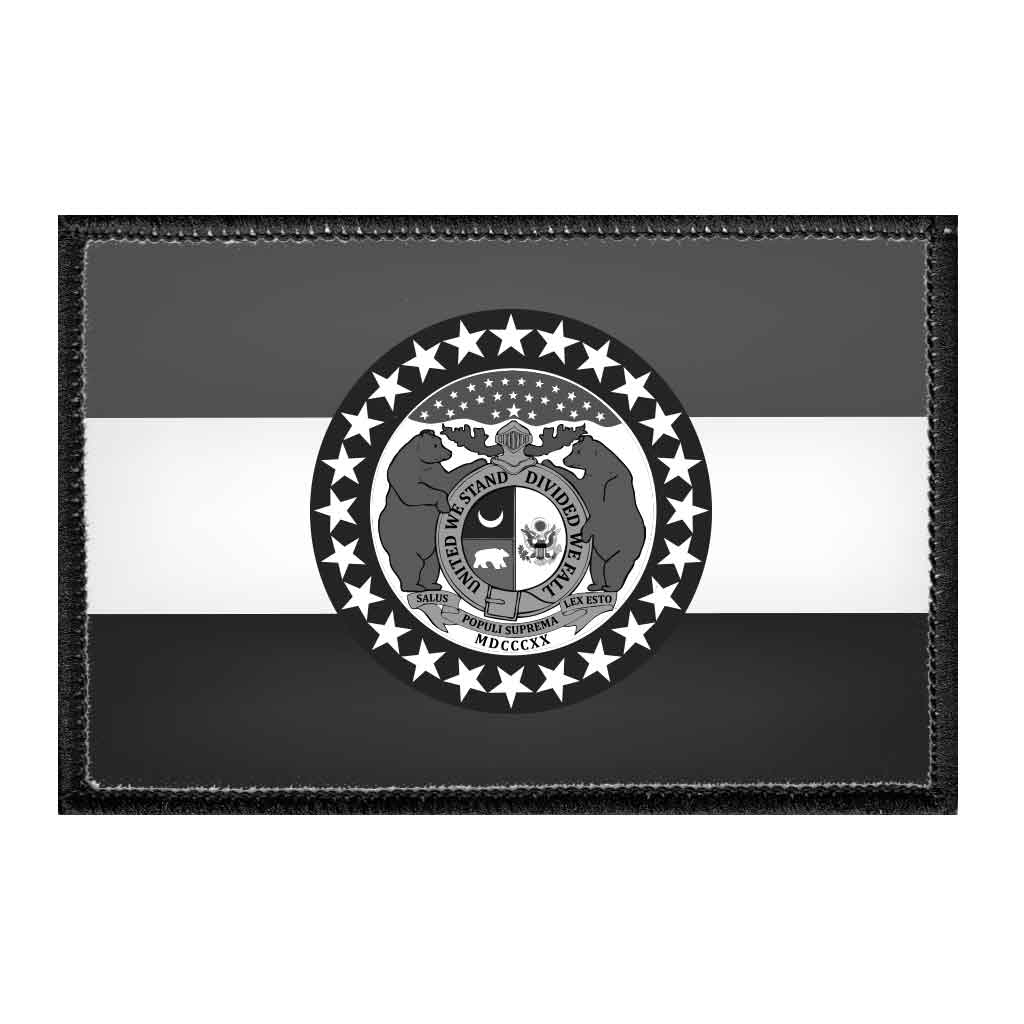 Missouri State Flag - Black and White - Removable Patch - Pull Patch - Removable Patches For Authentic Flexfit and Snapback Hats