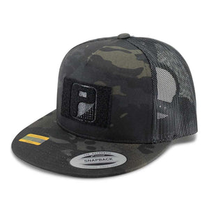 MULTICAM® Classic Trucker - Flat Bill - Pull Patch Hat by SNAPBACK - Black Camo and Black