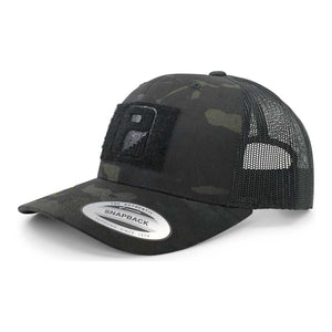 MULTICAM® Retro Trucker Pull Patch Hat by SNAPBACK - Black Camo and Black