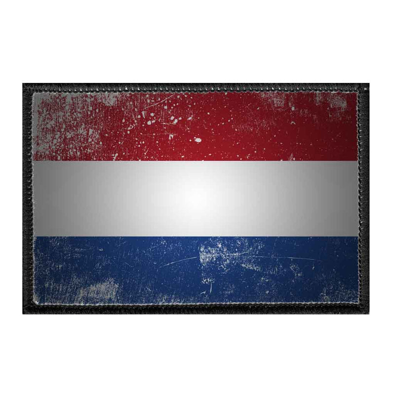 Netherlands Flag - Color - Distressed - Removable Patch - Pull Patch - Removable Patches For Authentic Flexfit and Snapback Hats