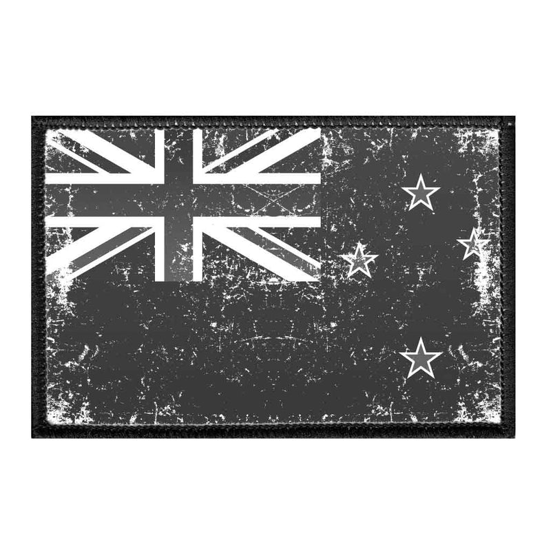 New Zealand Flag - Black and White - Distressed - Removable Patch - Pull Patch - Removable Patches For Authentic Flexfit and Snapback Hats