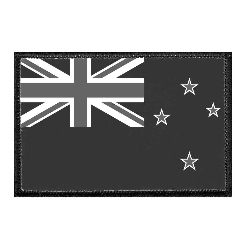 New Zealand Flag - Black and White - Removable Patch - Pull Patch - Removable Patches For Authentic Flexfit and Snapback Hats