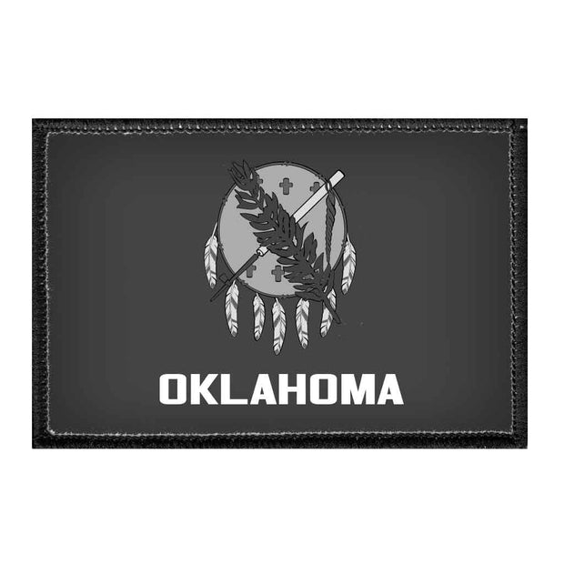 Oklahoma State Flag - Black and White - Removable Patch 1