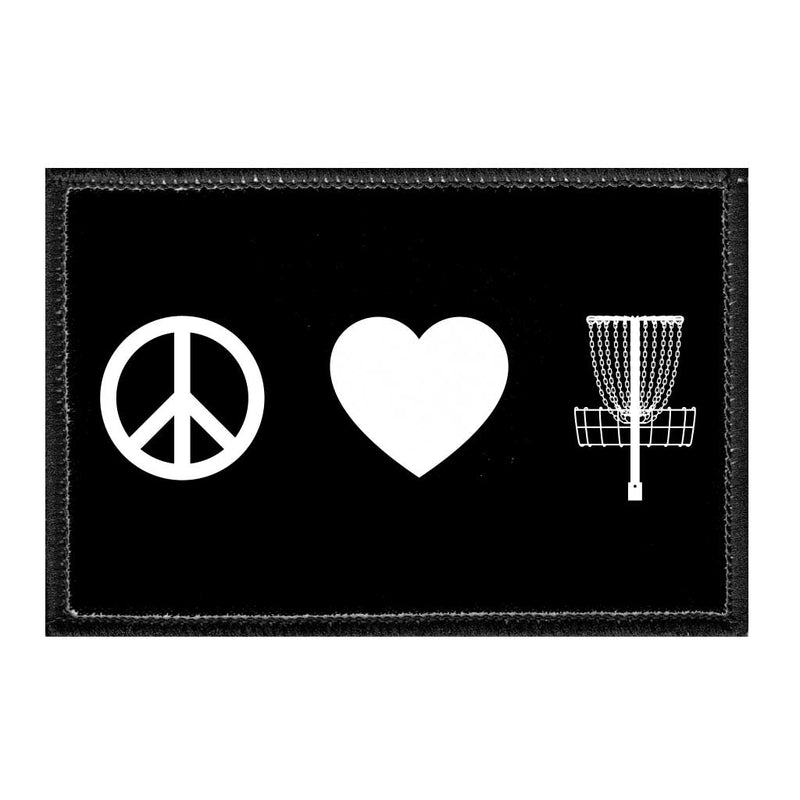 Peace. Love. Disc Golf. - Removable Patch - Pull Patch - Removable Patches For Authentic Flexfit and Snapback Hats
