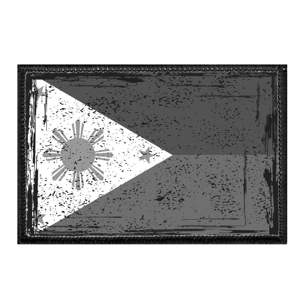 Philippines National Flag - Black And White - Distressed - Removable Patch - Pull Patch - Removable Patches For Authentic Flexfit and Snapback Hats