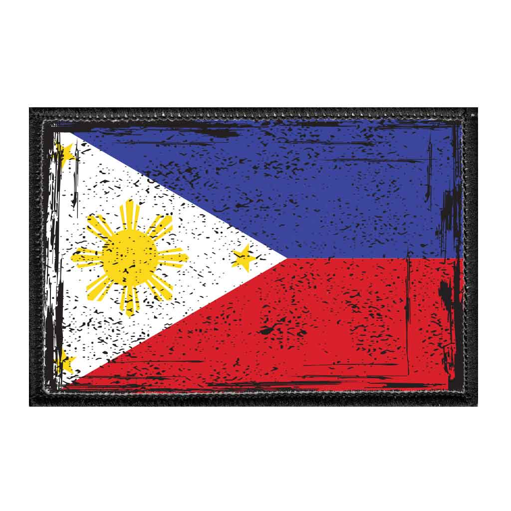 Philippines National Flag - Color - Distressed - Removable Patch - Pull Patch - Removable Patches For Authentic Flexfit and Snapback Hats