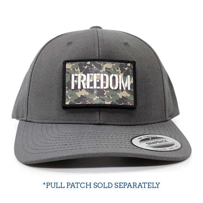 Premium Curved Visor Pull Patch Hat By Snapback - Dark Grey - Pull Patch - Removable Patches For Authentic Flexfit and Snapback Hats