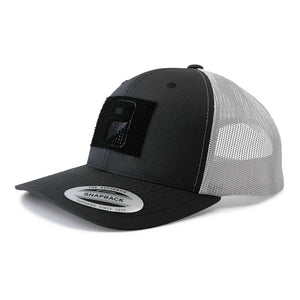 Retro Trucker 2-Tone Pull Patch Hat By Snapback - Charcoal and White