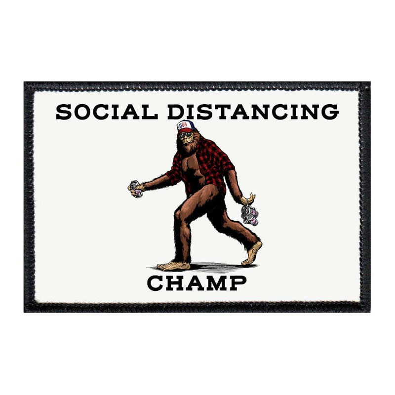 Social Distancing Champ - Big Foot - Removable Patch - Pull Patch - Removable Patches For Authentic Flexfit and Snapback Hats