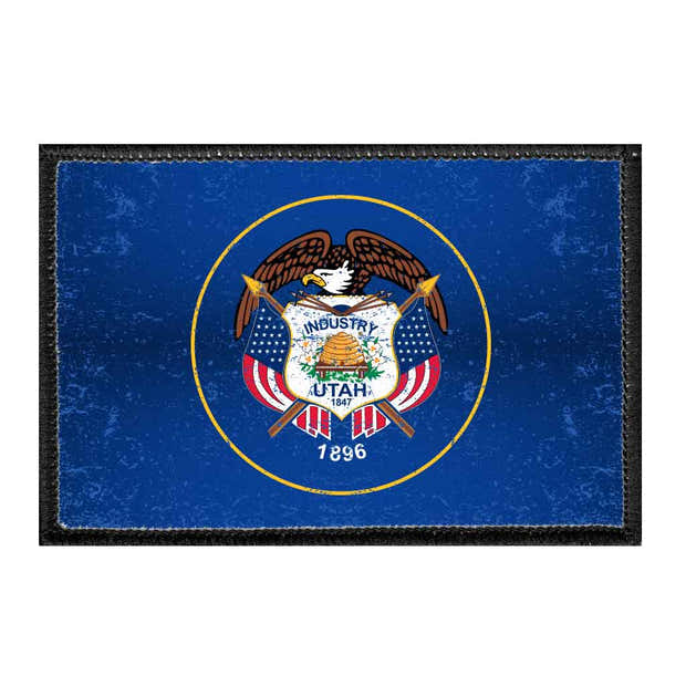 Utah State Flag - Color - Distressed - Removable Patch 1
