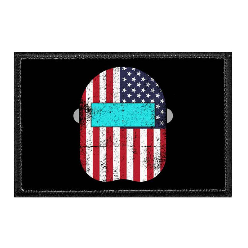 Welder Mask - US Flag - Removable Patch - Pull Patch - Removable Patches For Authentic Flexfit and Snapback Hats