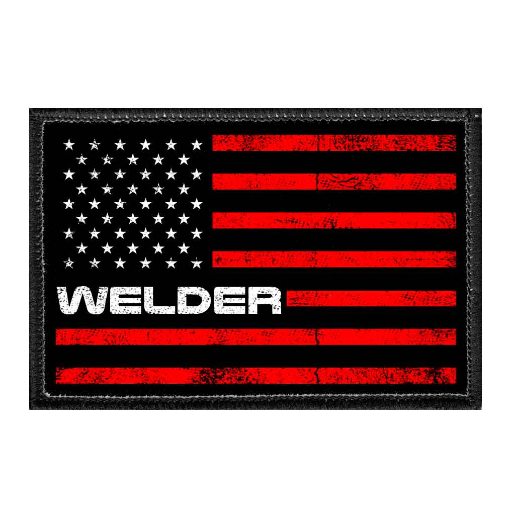 Welder - US Flag - Red - Removable Patch - Pull Patch - Removable Patches For Authentic Flexfit and Snapback Hats