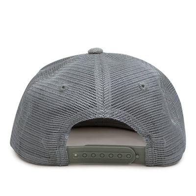 Youth Classic Trucker Flat Bill - Pull Patch Hat - Heather Grey - Pull Patch - Removable Patches For Authentic Flexfit and Snapback Hats