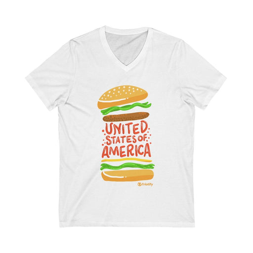 United States of America Burger V-neck Unisex - Triotify