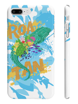 Side View Hand Painted Roatan's Spiny-tailed Iguana Slim iPhone Cases - Triotify