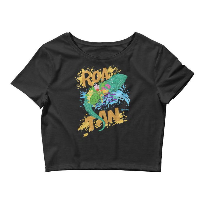 Hand Painted Spiny-tailed Roatan Iguana |Women's Crop Tee - Triotify