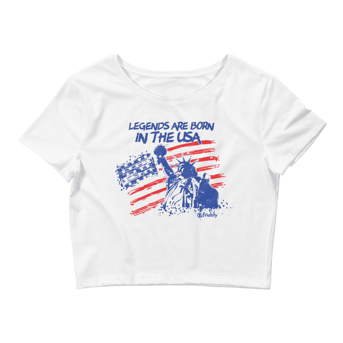 Legends Are Born In The USA Women's Crop Tee - Triotify