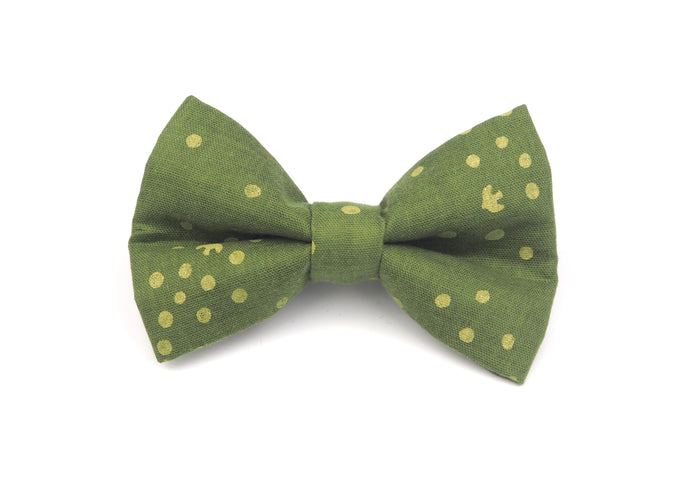 Dotted Green Linen Bow