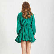 Army Green Vintage Bandage Pleated Dress-THE TWO TWINS-SULZ