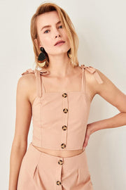 Beige Crop Top Blouse-MILLA-SULZ