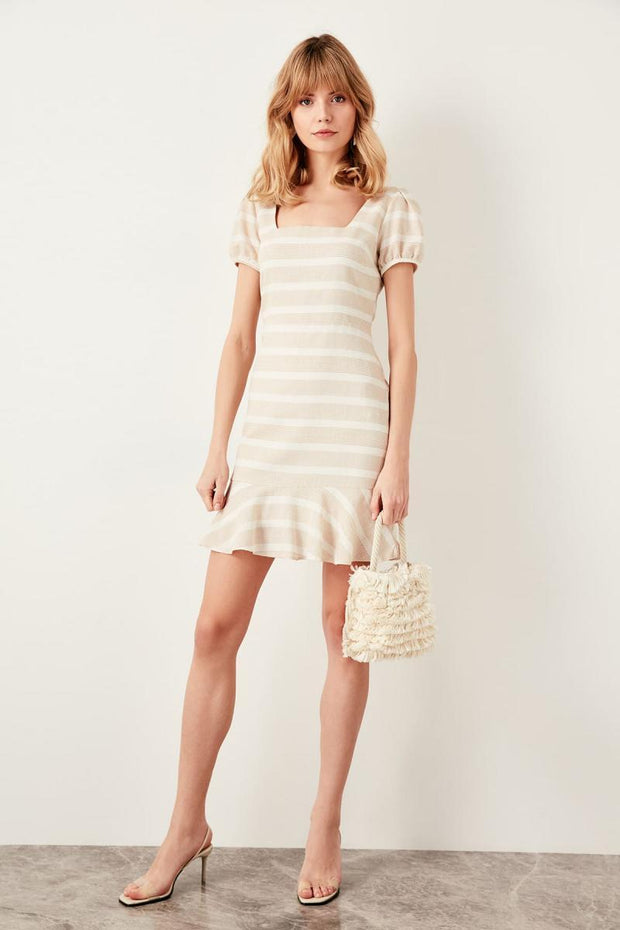 Beige Sleeve Detail Dress-MILLA-SULZ