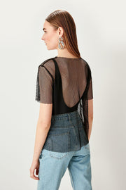 Black Fishnet Knitted Blouse-MILLA-SULZ