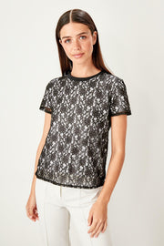 Black Lace Embroideried Knitted Blouse-MILLA-SULZ