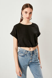 Black Shir Details Bicycle Neck Knitted Blouse-MILLA-SULZ