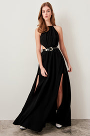 Black Waist Maxi Dress Decolletage-MILLA-SULZ