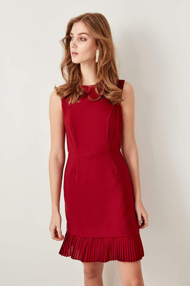 Bordeaux Pilis Detailed Dress-MILLA-SULZ