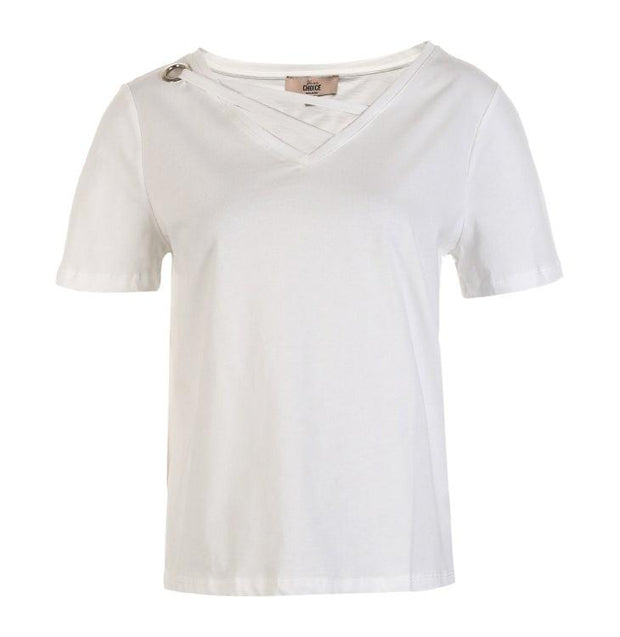Cotton Pure Color Collar Decorative Band Casual Short Sleeve T-shirt-VEROMODA-SULZ
