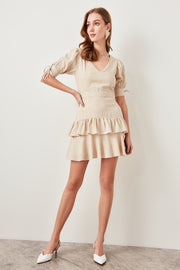 Frilly Beige Dress-MILLA-SULZ