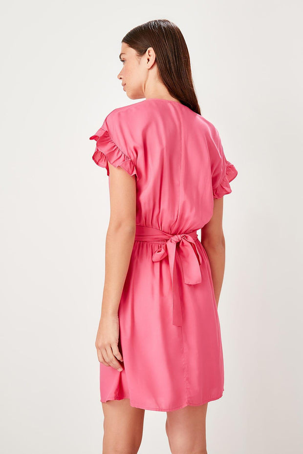 Fuchsia Double Breasted Collar Dress-MILLA-SULZ