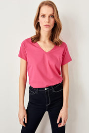 Fuchsia V Neck Cotton Basic Knitted T-Shirt-MILLA-SULZ