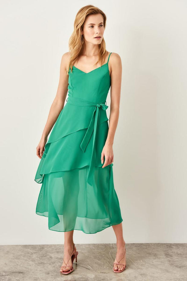 Green Flywheel Detail Dress-MILLA-SULZ