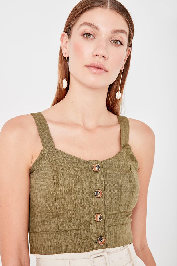 Green Halter Crop Top Blouse-MILLA-SULZ