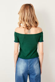 Green Ribbed Knitted Blouse-MILLA-SULZ